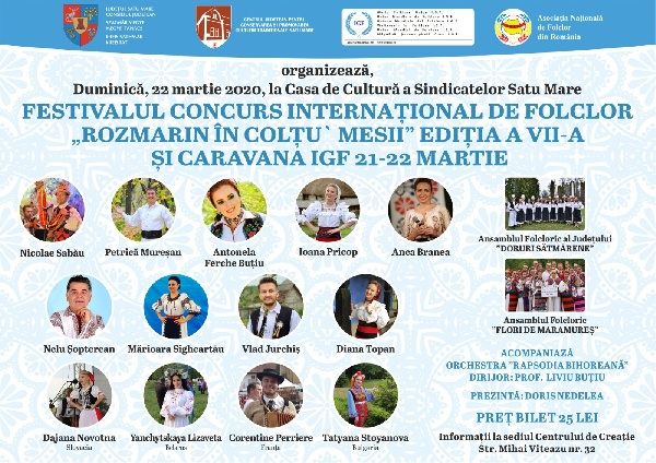 FOR THE FIRST TIME IN THE HISTORY OF SATU MARE COUNTY – ROMANIA, IN MARCH WILL BE HELD THE MEETING OF THE WORLD FOLKLORE UNION (I.G.F.)