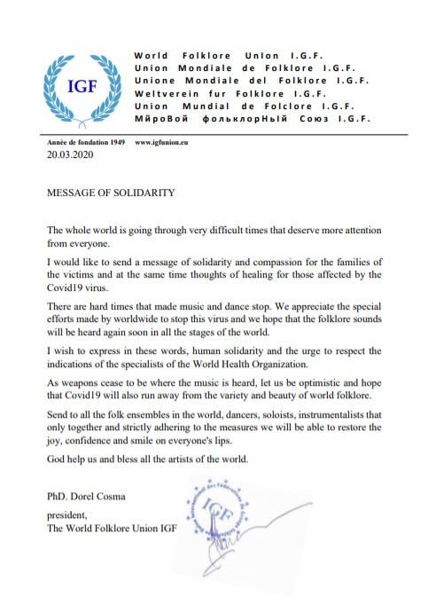 I.G.F. MESSAGE OF SOLIDARITY
